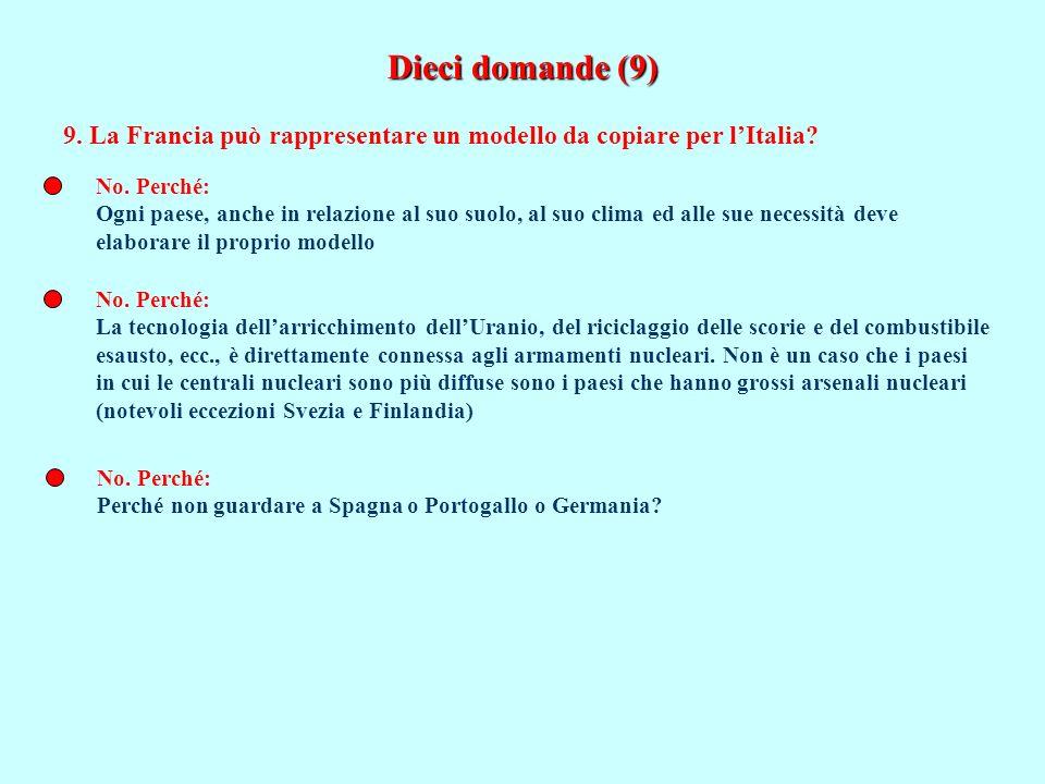 Dieci domande (9) 9. La Francia può rappresentare un modello da copiare per lItalia? No. Perché: Ogni paese, anche in relazione al suo suolo, al suo c