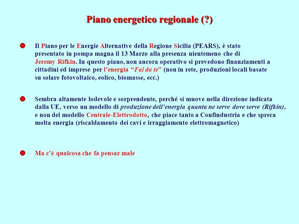Piano energetico regionale (?) Il Piano per le Energie Alternative della Regione Sicilia (PEARS), è stato presentato in pompa magna il 13 Marzo alla p