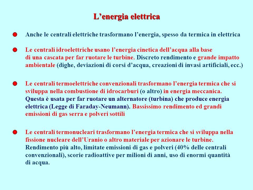 Lenergia elettrica Anche le centrali elettriche trasformano lenergia, spesso da termica in elettrica Le centrali termoelettriche convenzionali trasfor