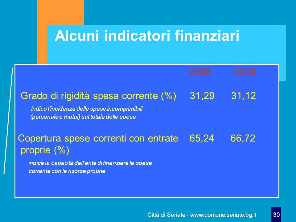 Città di Seriate - www.comune.seriate.bg.it 30 Alcuni indicatori finanziari 2008 2009 Grado di rigidità spesa corrente (%) 31,29 31,12 indica linciden
