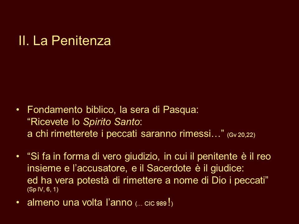 Fondamento biblico, la sera di Pasqua: Ricevete lo Spirito Santo: a chi rimetterete i peccati saranno rimessi… (Gv 20,22) Si fa in forma di vero giudi