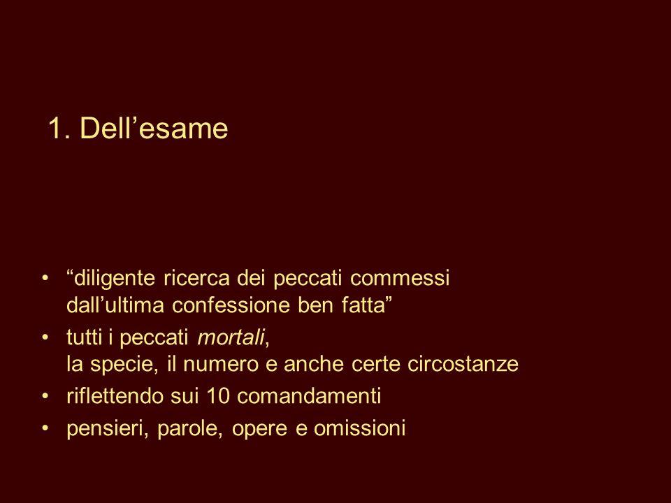 diligente ricerca dei peccati commessi dallultima confessione ben fatta tutti i peccati mortali, la specie, il numero e anche certe circostanze riflet