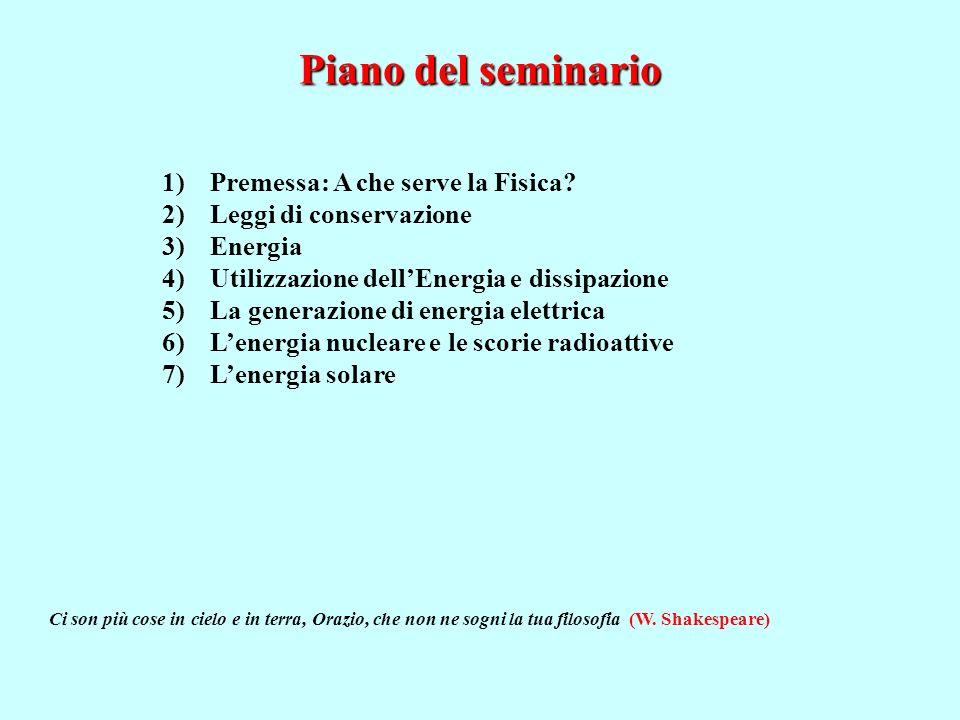 Piano del seminario 1)Premessa: A che serve la Fisica.