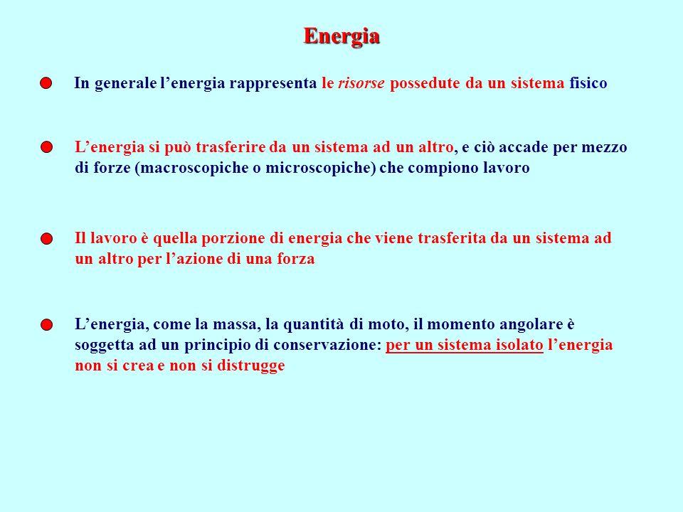 Energia Lenergia si può trasferire da un sistema ad un altro, e ciò accade per mezzo di forze (macroscopiche o microscopiche) che compiono lavoro Il lavoro è quella porzione di energia che viene trasferita da un sistema ad un altro per lazione di una forza In generale lenergia rappresenta le risorse possedute da un sistema fisico Lenergia, come la massa, la quantità di moto, il momento angolare è soggetta ad un principio di conservazione: per un sistema isolato lenergia non si crea e non si distrugge