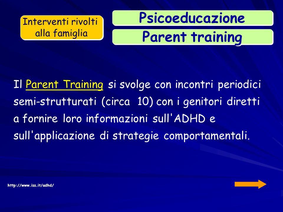 Il Parent Training si svolge con incontri periodici semi-strutturati (circa 10) con i genitori diretti a fornire loro informazioni sull'ADHD e sull'ap