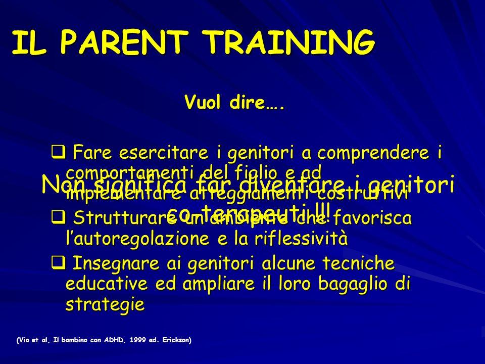 (Vio et al, Il bambino con ADHD, 1999 ed. Erickson) Vuol dire…. Fare esercitare i genitori a comprendere i comportamenti del figlio e ad implementare