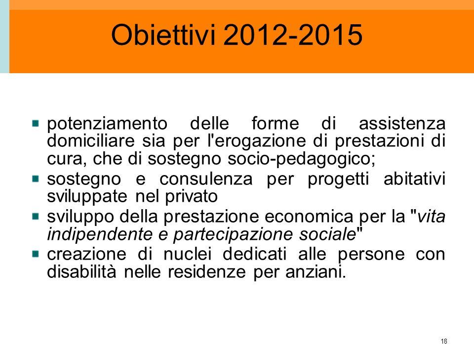 18 Obiettivi 2012-2015 potenziamento delle forme di assistenza domiciliare sia per l'erogazione di prestazioni di cura, che di sostegno socio-pedagogi