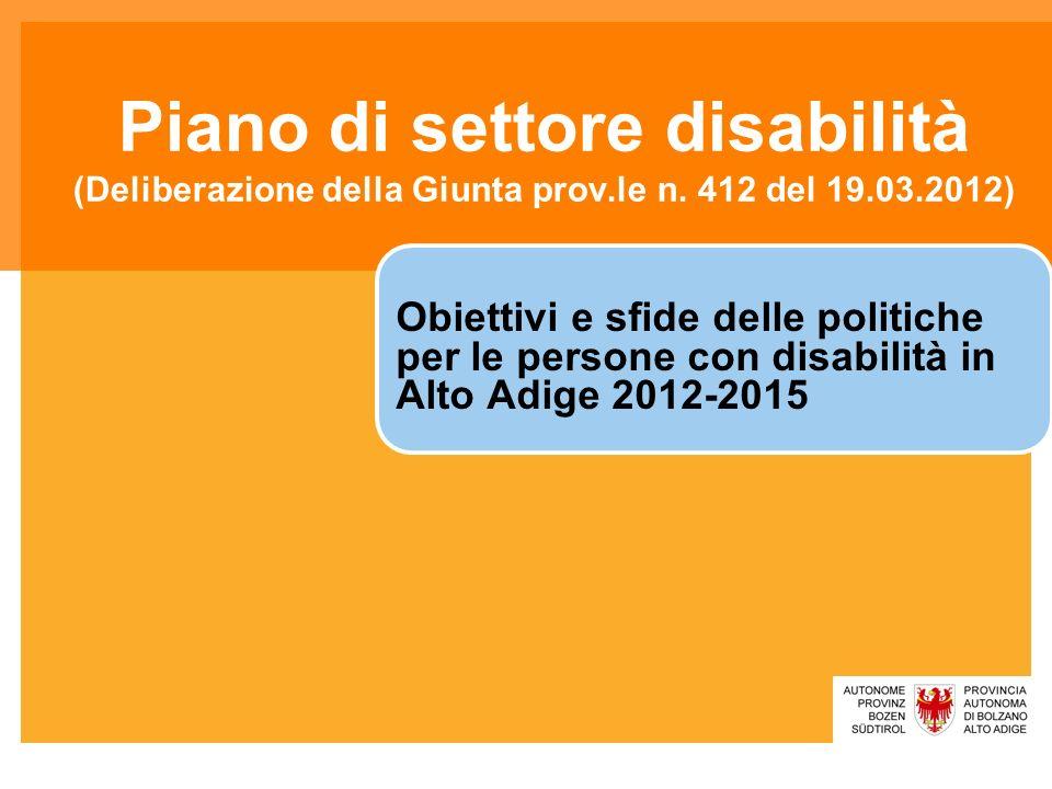 Piano di settore disabilità (Deliberazione della Giunta prov.le n. 412 del 19.03.2012) Obiettivi e sfide delle politiche per le persone con disabilità