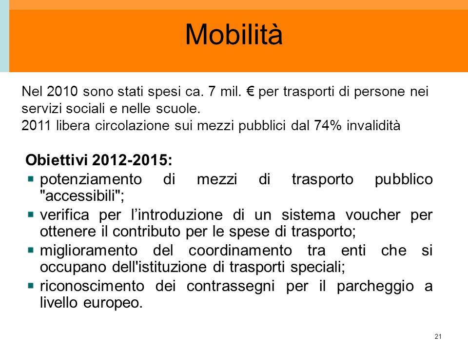 21 Mobilità Obiettivi 2012-2015: potenziamento di mezzi di trasporto pubblico accessibili ; verifica per lintroduzione di un sistema voucher per ottenere il contributo per le spese di trasporto; miglioramento del coordinamento tra enti che si occupano dell istituzione di trasporti speciali; riconoscimento dei contrassegni per il parcheggio a livello europeo.
