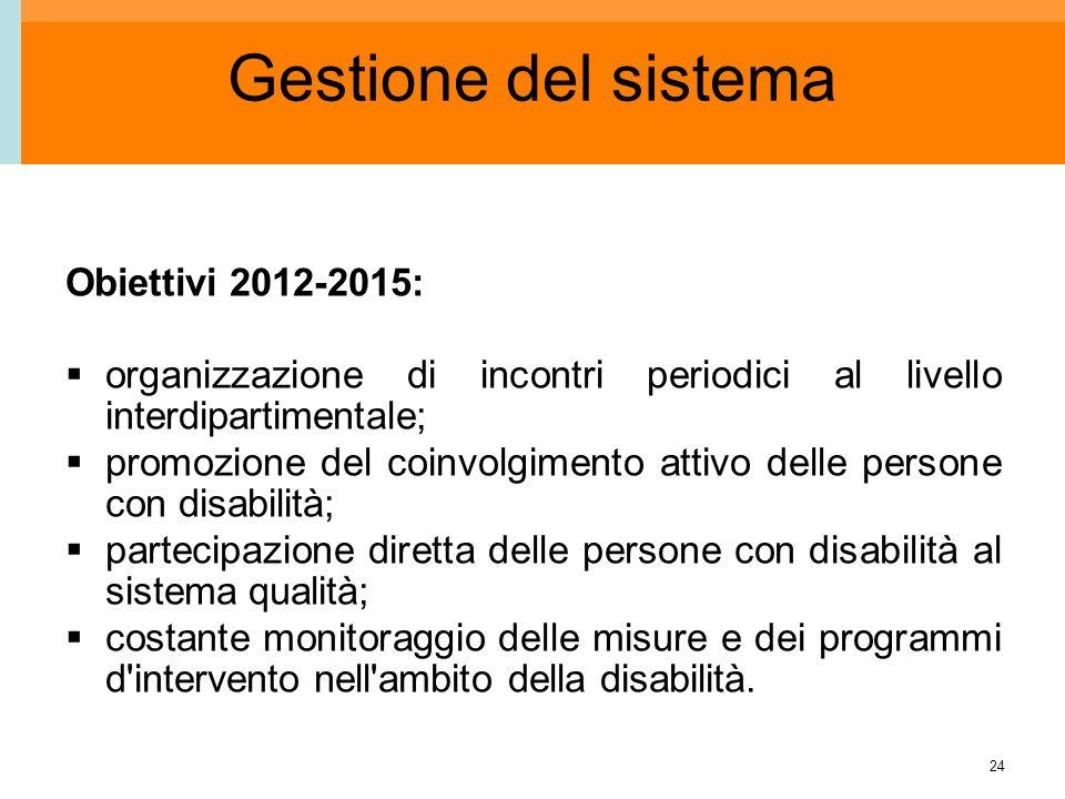 24 Gestione del sistema Obiettivi 2012-2015: organizzazione di incontri periodici al livello interdipartimentale; promozione del coinvolgimento attivo