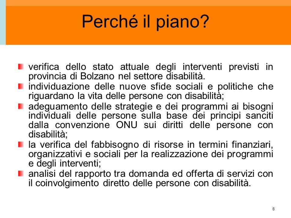 8 Perché il piano? verifica dello stato attuale degli interventi previsti in provincia di Bolzano nel settore disabilità. individuazione delle nuove s