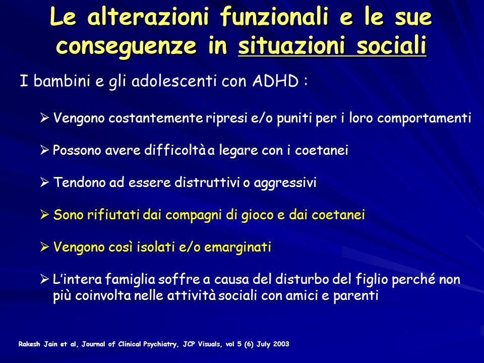 Le alterazioni funzionali e le sue conseguenze in situazioni sociali I bambini e gli adolescenti con ADHD : Vengono costantemente ripresi e/o puniti p