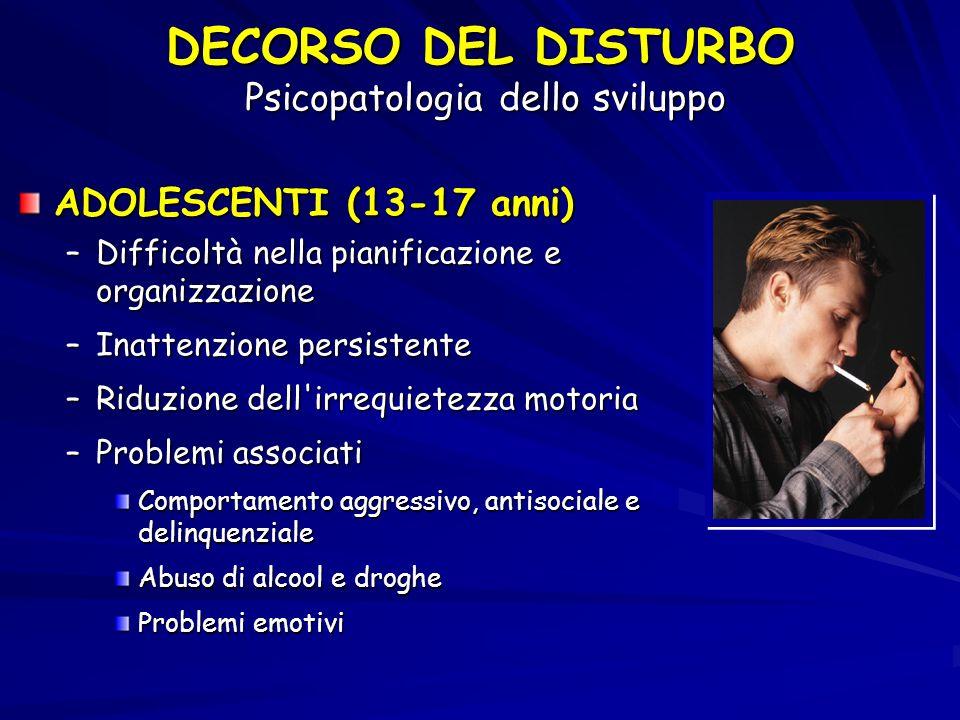 ADOLESCENTI (13-17 anni) –Difficoltà nella pianificazione e organizzazione –Inattenzione persistente –Riduzione dell'irrequietezza motoria –Problemi a