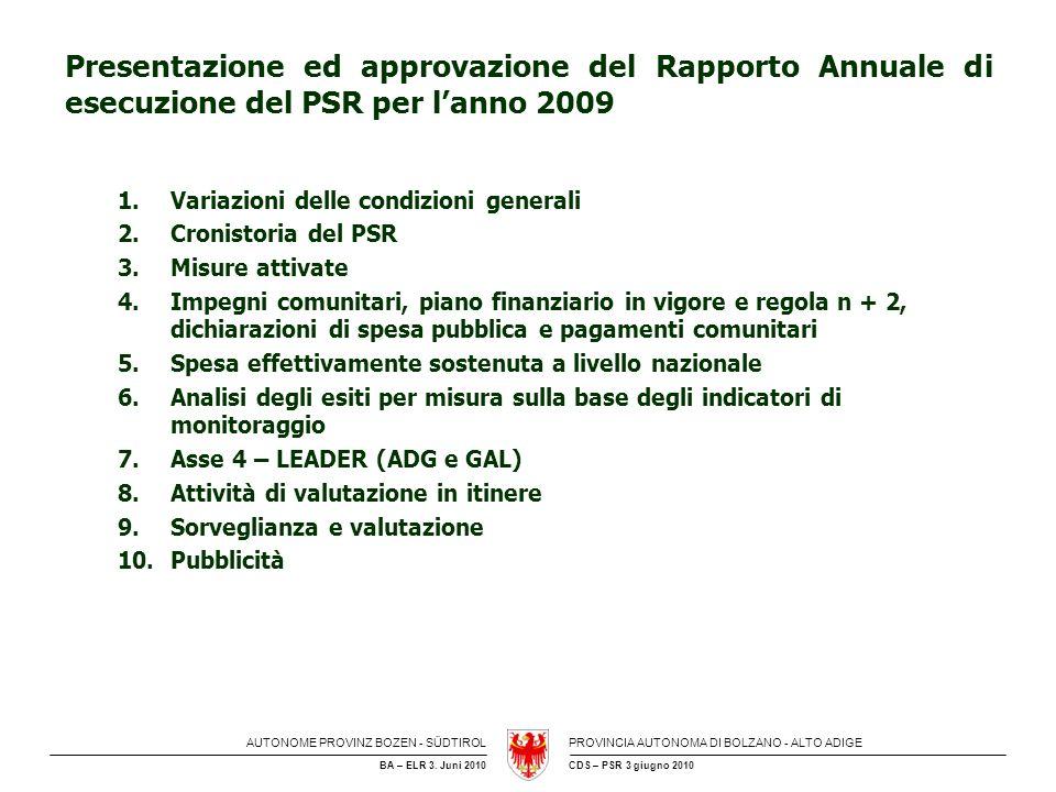 AUTONOME PROVINZ BOZEN - SÜDTIROLPROVINCIA AUTONOMA DI BOLZANO - ALTO ADIGE CDS – PSR 3 giugno 2010BA – ELR 3. Juni 2010 Presentazione ed approvazione