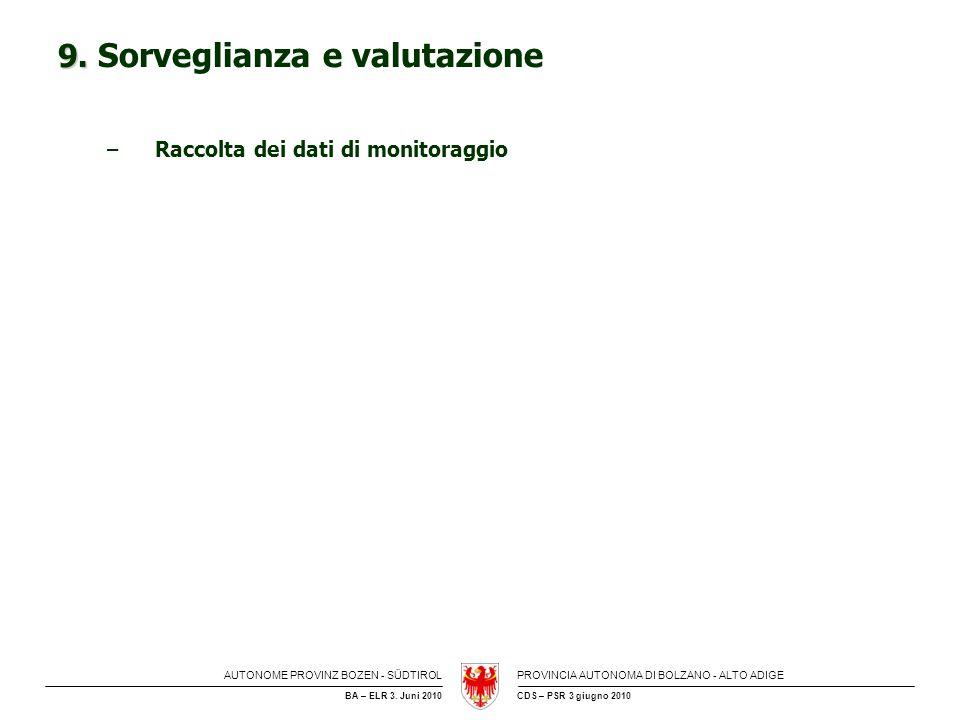 AUTONOME PROVINZ BOZEN - SÜDTIROLPROVINCIA AUTONOMA DI BOLZANO - ALTO ADIGE CDS – PSR 3 giugno 2010BA – ELR 3. Juni 2010 9. 9. Sorveglianza e valutazi