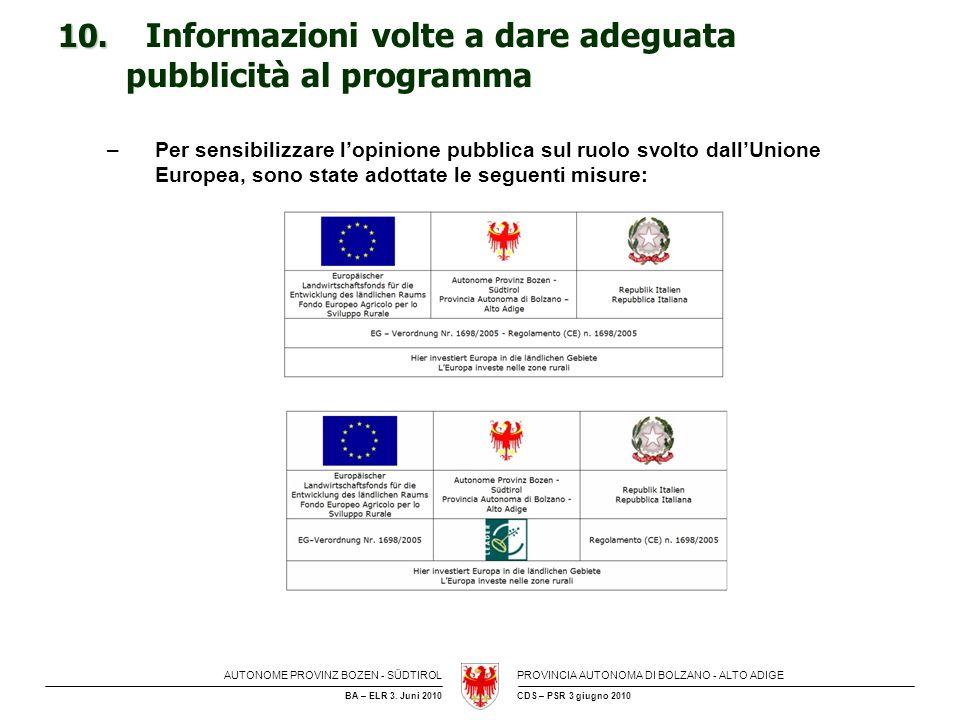 AUTONOME PROVINZ BOZEN - SÜDTIROLPROVINCIA AUTONOMA DI BOLZANO - ALTO ADIGE CDS – PSR 3 giugno 2010BA – ELR 3. Juni 2010 10. 10. Informazioni volte a