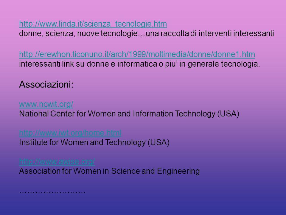 referenze Testi: Silvia Chiarantini, Donne e Computer: il genere della tecnologia tesi di laurea, univ. Firenze Margaret Werthen, I pantaloni di Pitag