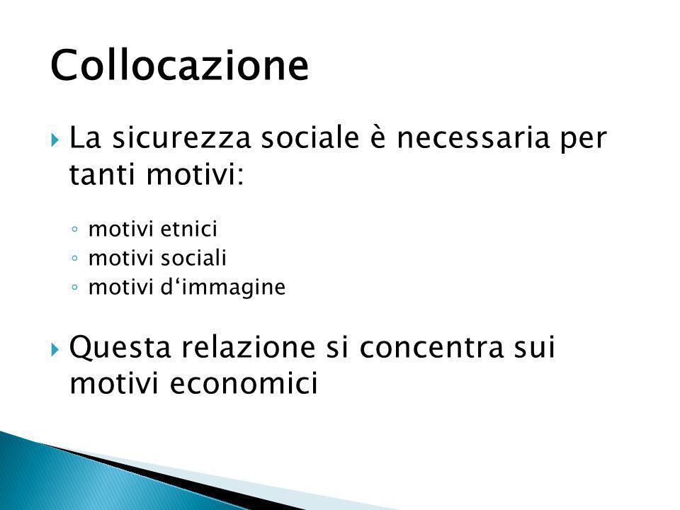 Collocazione La sicurezza sociale è necessaria per tanti motivi: motivi etnici motivi sociali motivi dimmagine Questa relazione si concentra sui motiv