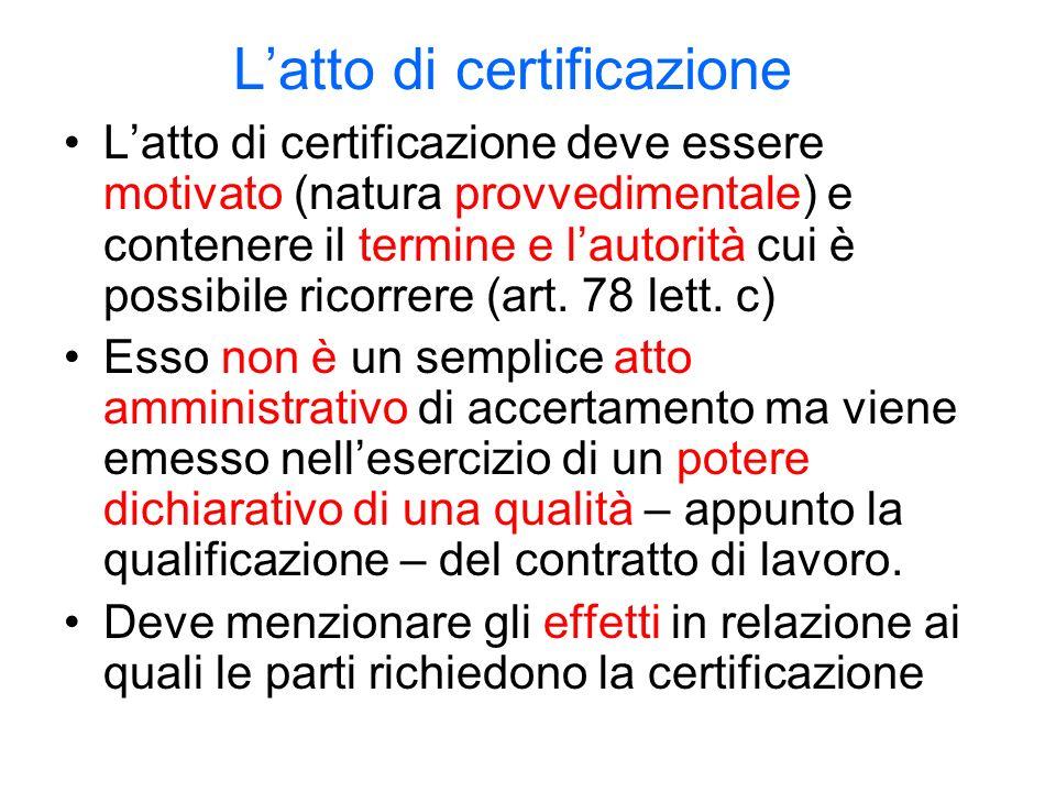 Latto di certificazione Latto di certificazione deve essere motivato (natura provvedimentale) e contenere il termine e lautorità cui è possibile ricorrere (art.