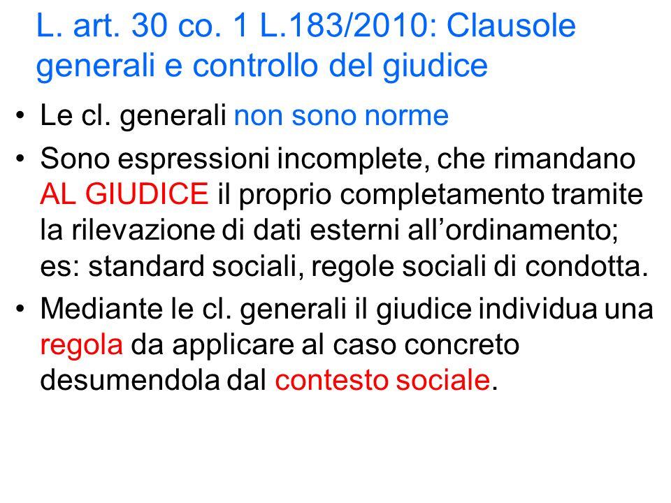 L. art. 30 co. 1 L.183/2010: Clausole generali e controllo del giudice Le cl.