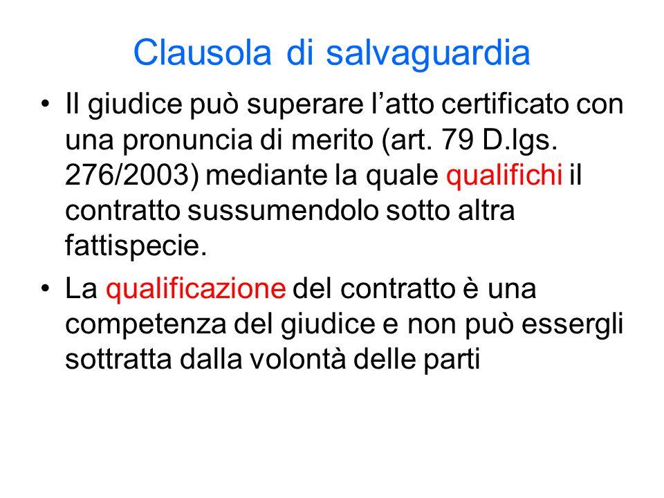 Clausola di salvaguardia Il giudice può superare latto certificato con una pronuncia di merito (art.