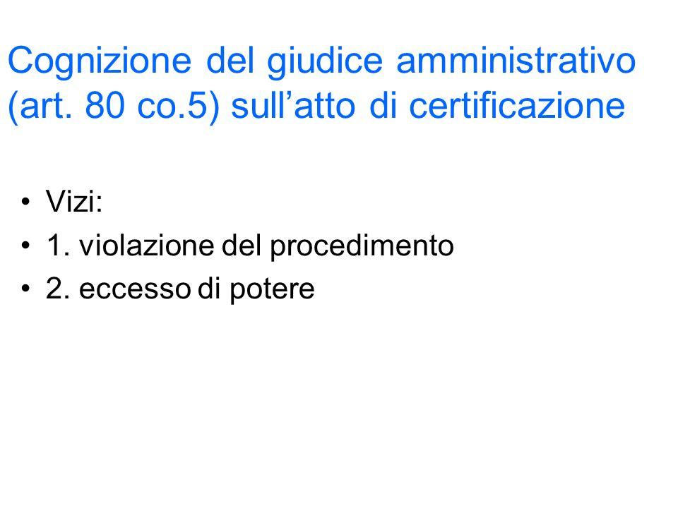 Cognizione del giudice amministrativo (art. 80 co.5) sullatto di certificazione Vizi: 1.