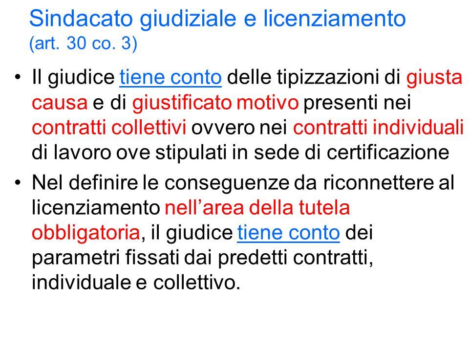 Sindacato giudiziale e licenziamento (art. 30 co.