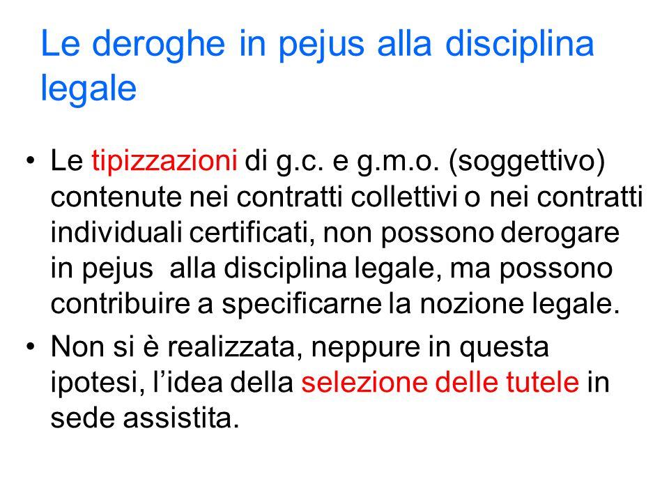 Le deroghe in pejus alla disciplina legale Le tipizzazioni di g.c.