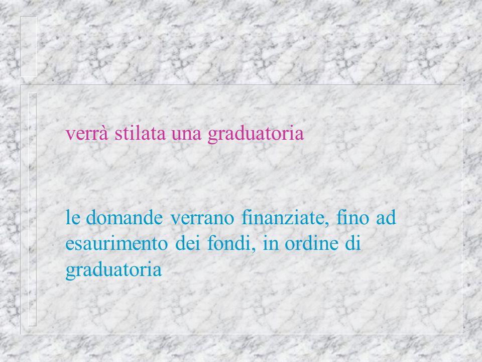 verrà stilata una graduatoria le domande verrano finanziate, fino ad esaurimento dei fondi, in ordine di graduatoria