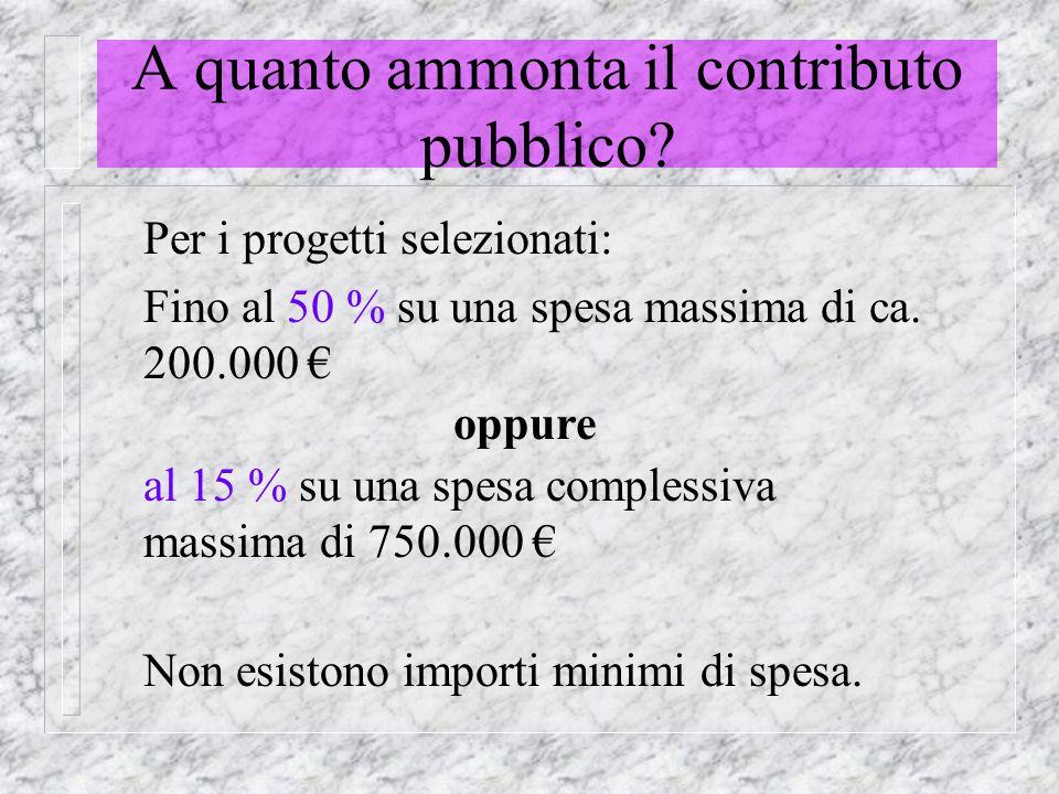 A quanto ammonta il contributo pubblico.