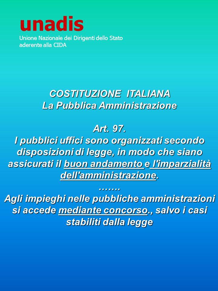 COSTITUZIONE ITALIANA La Pubblica Amministrazione Art. 97. I pubblici uffici sono organizzati secondo disposizioni di legge, in modo che siano assicur