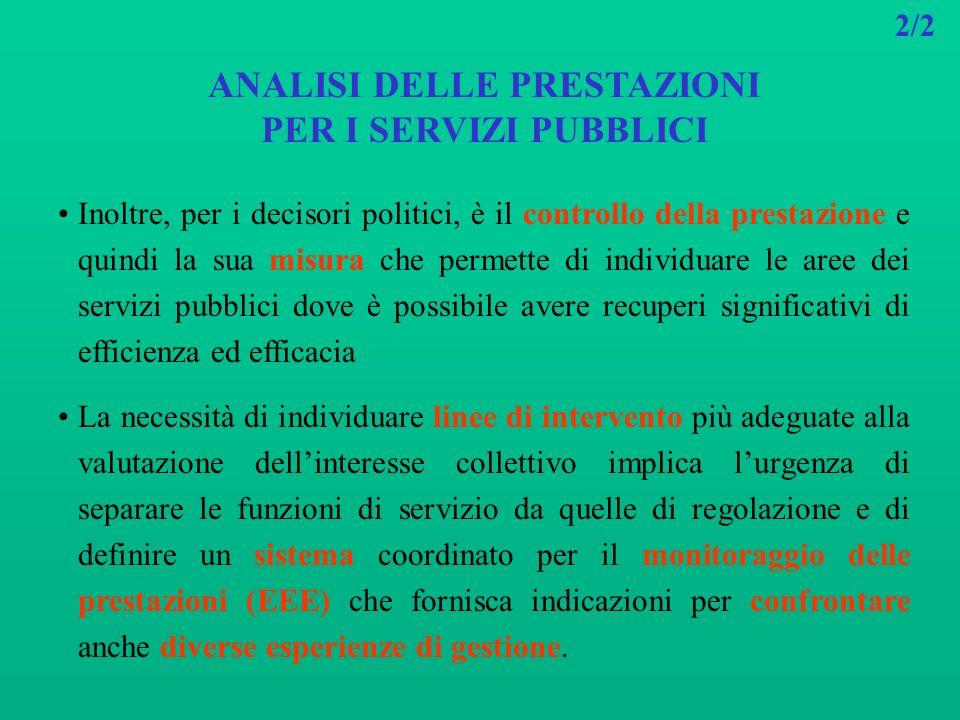 2/2 ANALISI DELLE PRESTAZIONI PER I SERVIZI PUBBLICI Inoltre, per i decisori politici, è il controllo della prestazione e quindi la sua misura che per