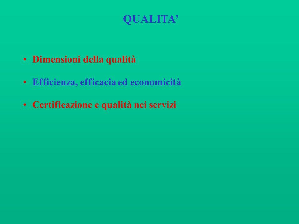 QUALITA Dimensioni della qualità Efficienza, efficacia ed economicità Certificazione e qualità nei servizi