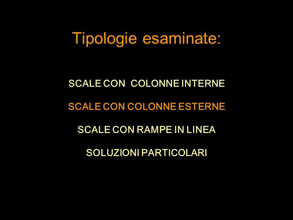 SCALE CON COLONNE INTERNE SCALE CON COLONNE ESTERNE Tipologie esaminate: SCALE CON RAMPE IN LINEA SOLUZIONI PARTICOLARI