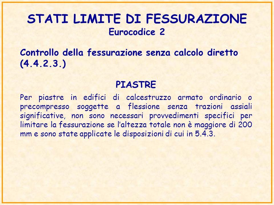 STATI LIMITE DI FESSURAZIONE Eurocodice 2 Controllo della fessurazione senza calcolo diretto (4.4.2.3.) Per piastre in edifici di calcestruzzo armato