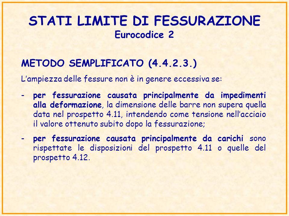 STATI LIMITE DI FESSURAZIONE Eurocodice 2 METODO SEMPLIFICATO (4.4.2.3.) Lampiezza delle fessure non è in genere eccessiva se: -per fessurazione causa