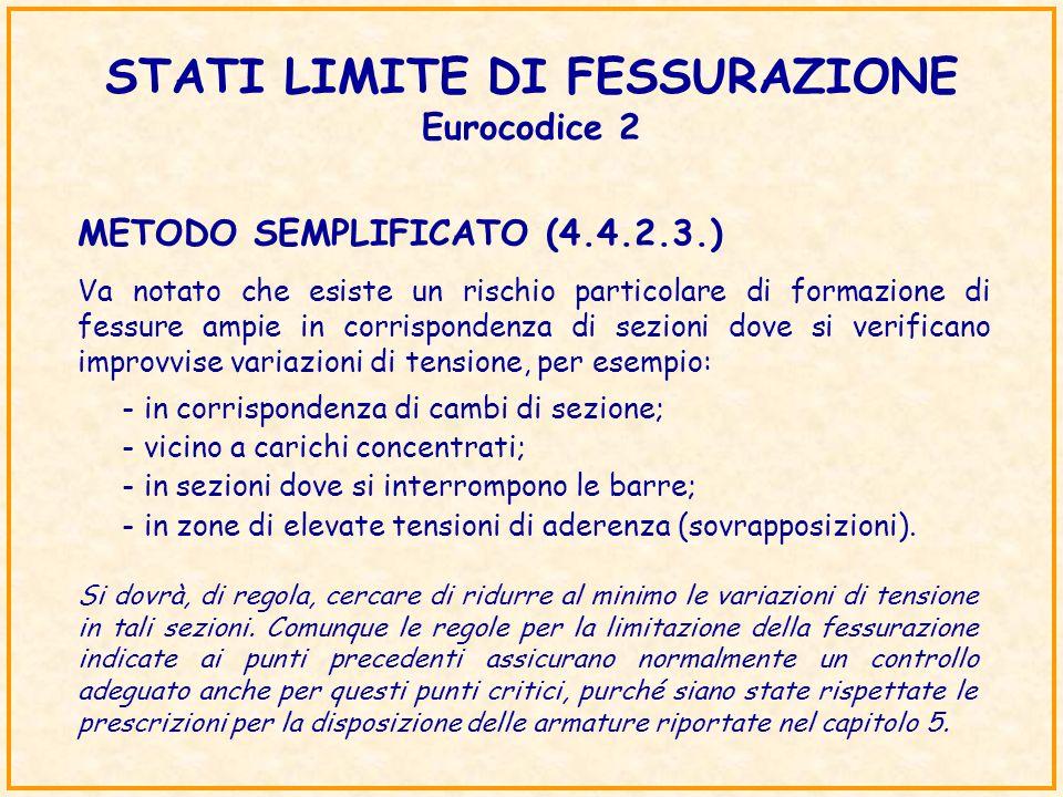 STATI LIMITE DI FESSURAZIONE Eurocodice 2 METODO SEMPLIFICATO (4.4.2.3.) Va notato che esiste un rischio particolare di formazione di fessure ampie in