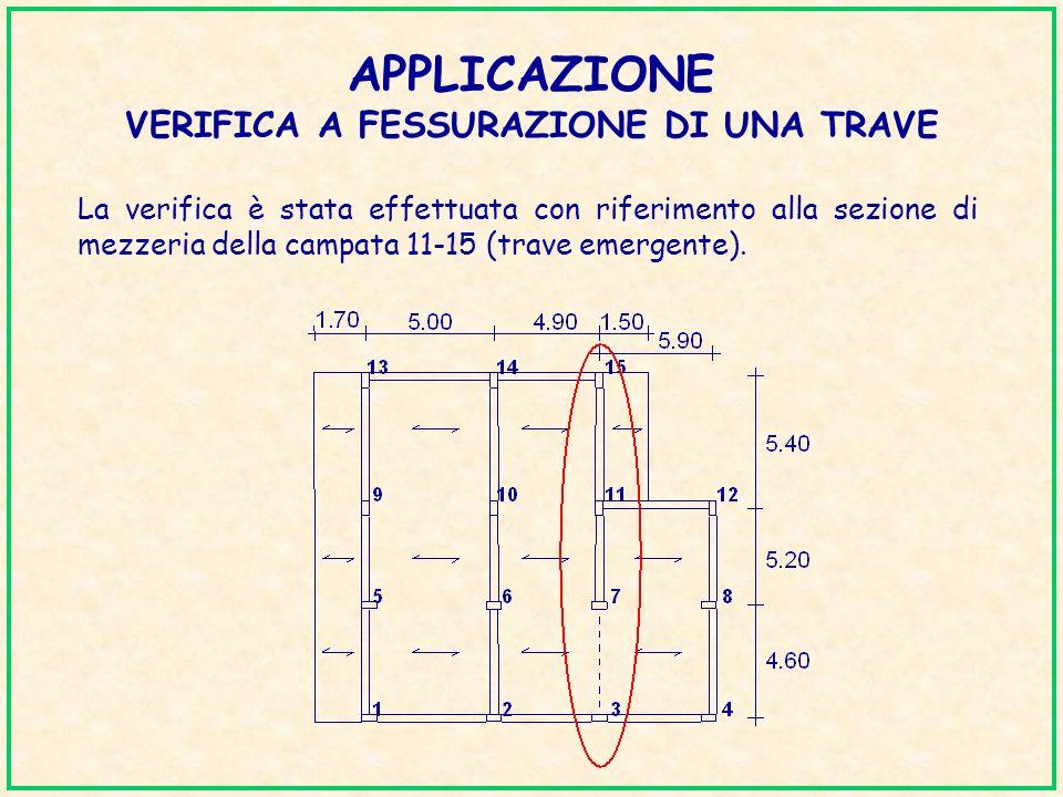APPLICAZIONE VERIFICA A FESSURAZIONE DI UNA TRAVE La verifica è stata effettuata con riferimento alla sezione di mezzeria della campata 11-15 (trave e