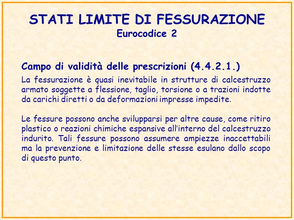 STATI LIMITE DI FESSURAZIONE Eurocodice 2 Campo di validità delle prescrizioni (4.4.2.1.) La fessurazione è quasi inevitabile in strutture di calcestr