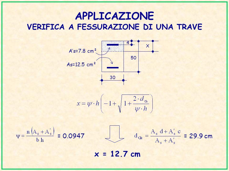 APPLICAZIONE VERIFICA A FESSURAZIONE DI UNA TRAVE x = 12.7 cm = 0.0947= 29.9 cm 50 30 4 As=12.5 cm² As=7.8 cm² X