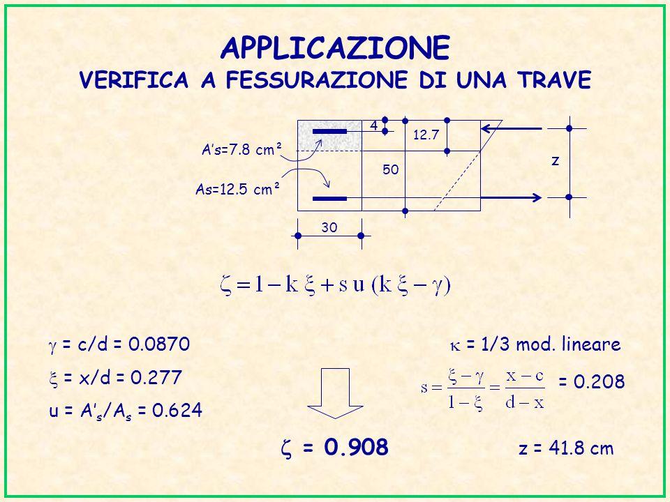APPLICAZIONE VERIFICA A FESSURAZIONE DI UNA TRAVE = c/d = 0.0870 = 1/3 mod. lineare = x/d = 0.277 u = A s /A s = 0.624 = 0.908 z = 41.8 cm = 0.208 50