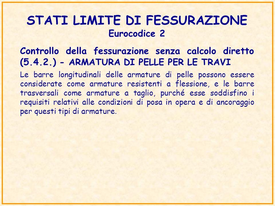 STATI LIMITE DI FESSURAZIONE Eurocodice 2 Controllo della fessurazione senza calcolo diretto (5.4.2.) - ARMATURA DI PELLE PER LE TRAVI Le barre longit