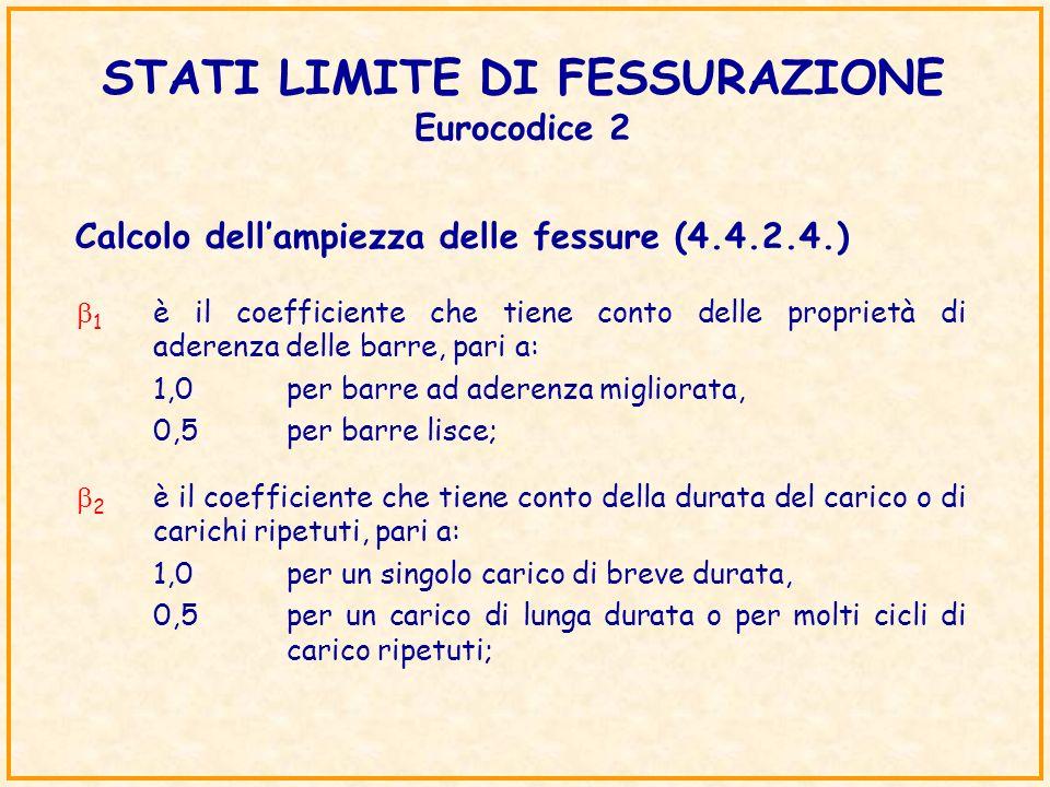 STATI LIMITE DI FESSURAZIONE Eurocodice 2 Calcolo dellampiezza delle fessure (4.4.2.4.) 1 è il coefficiente che tiene conto delle proprietà di aderenz