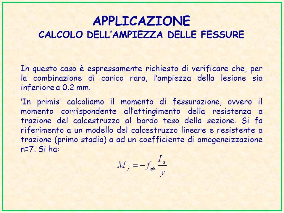 APPLICAZIONE CALCOLO DELLAMPIEZZA DELLE FESSURE In questo caso è espressamente richiesto di verificare che, per la combinazione di carico rara, lampie