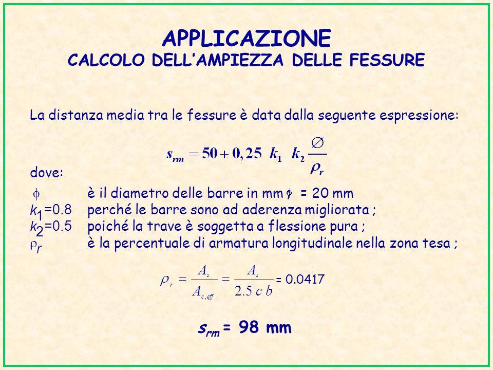 APPLICAZIONE CALCOLO DELLAMPIEZZA DELLE FESSURE La distanza media tra le fessure è data dalla seguente espressione: dove: è il diametro delle barre in