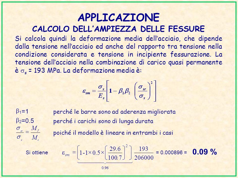 APPLICAZIONE CALCOLO DELLAMPIEZZA DELLE FESSURE Si calcola quindi la deformazione media dellacciaio, che dipende dalla tensione nellacciaio ed anche d