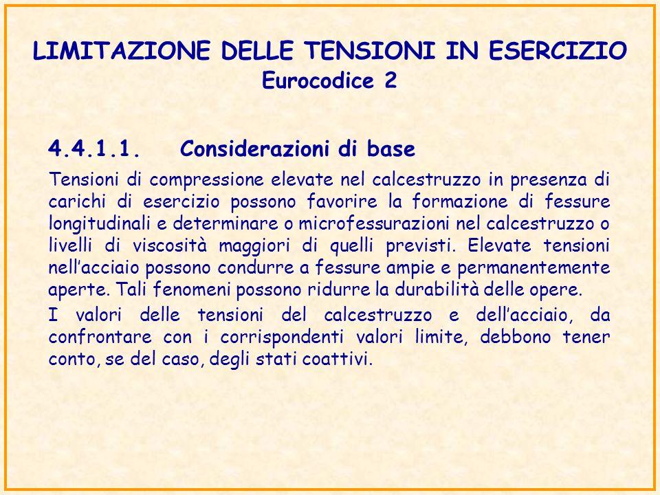 LIMITAZIONE DELLE TENSIONI IN ESERCIZIO Eurocodice 2 4.4.1.1.Considerazioni di base Tensioni di compressione elevate nel calcestruzzo in presenza di c