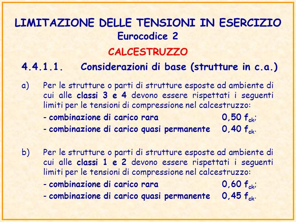 LIMITAZIONE DELLE TENSIONI IN ESERCIZIO Eurocodice 2 4.4.1.1.Considerazioni di base (strutture in c.a.) a)Per le strutture o parti di strutture espost