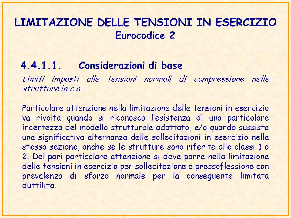 LIMITAZIONE DELLE TENSIONI IN ESERCIZIO Eurocodice 2 4.4.1.1.Considerazioni di base Limiti imposti alle tensioni normali di compressione nelle struttu
