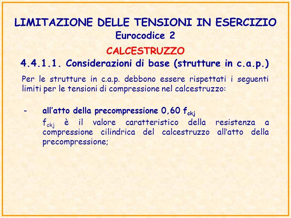 LIMITAZIONE DELLE TENSIONI IN ESERCIZIO Eurocodice 2 4.4.1.1.Considerazioni di base (strutture in c.a.p.) Per le strutture in c.a.p. debbono essere ri